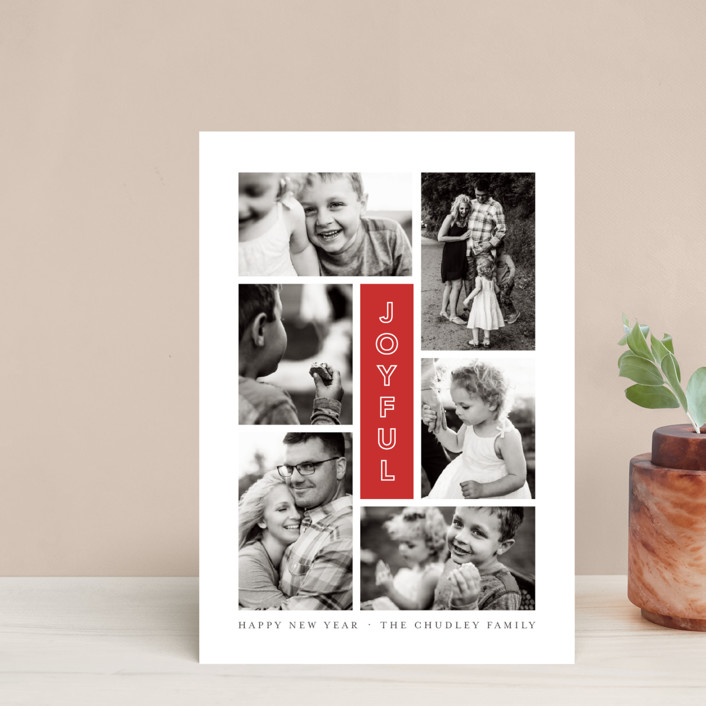 """""""Joyful Six"""" - Modern Holiday Postcards in Cranberry by Up Up Creative."""