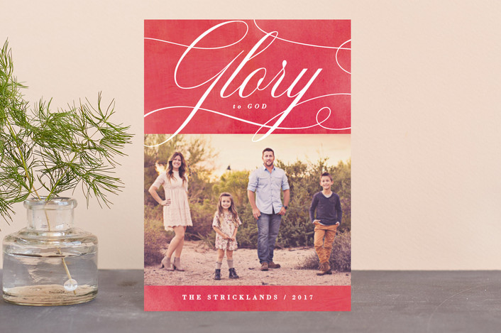 """Glory Scripted"" - Holiday Postcards in Poinsettia by Hooray Creative."