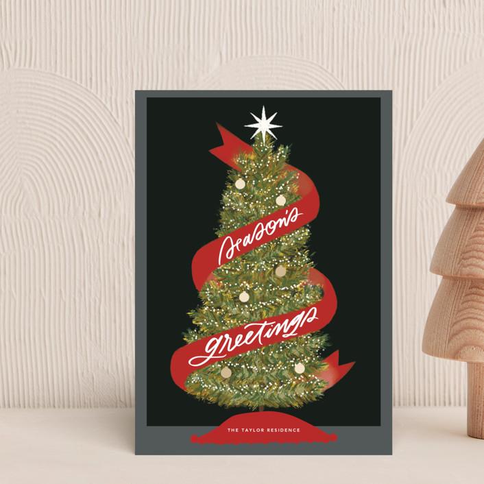 """Seasonal Ribbon"" - Bohemian Holiday Postcards in Eclipse by Marabou Design."