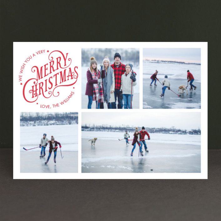 """Merry Days"" - Vintage Holiday Postcards in Berry by Ekaterina Romanova."