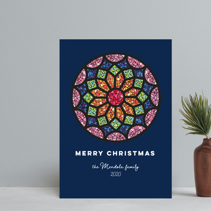 """""""Rosette"""" - Bohemian Holiday Postcards in Navy by peetie design."""