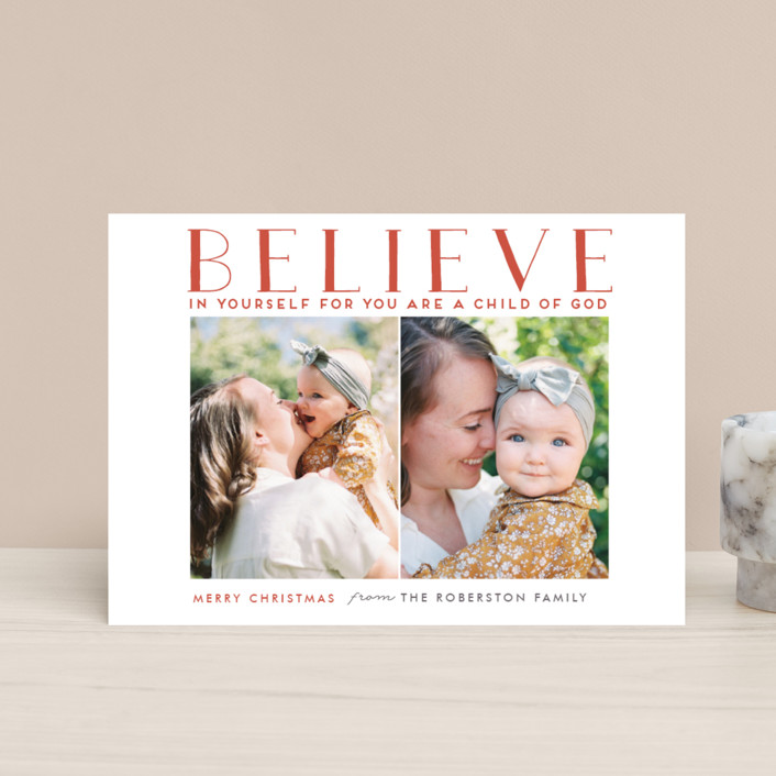 """""""BELIEVE IN YOURSELF"""" - Holiday Postcards in Robin Red by Stacy Cooke."""