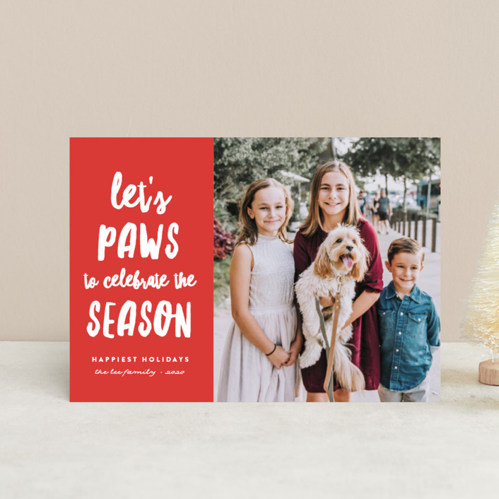 """""""Let's Paws"""" - Funny Holiday Postcards in Holly by Erica Krystek."""