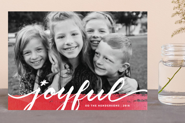 """Joyful art"" - Holiday Postcards in Soft red by Stacey Meacham."