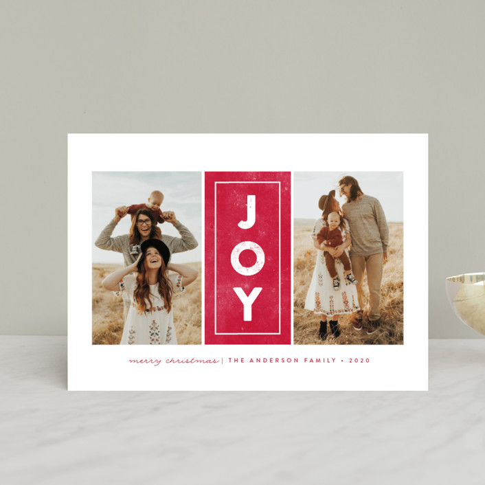 """""""Centered Joy"""" - Holiday Postcards in Berry by peony papeterie."""
