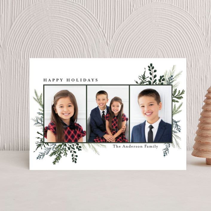 """""""Happy Holidays"""" - Holiday Postcards in Pine by Susan Moyal."""