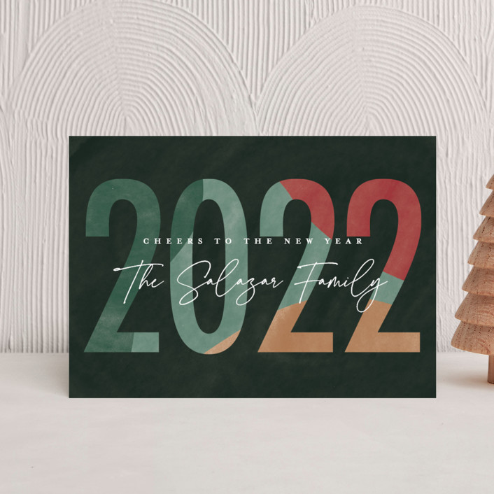 """""""New Year"""" - Holiday Postcards in Garland by Pixel and Hank."""