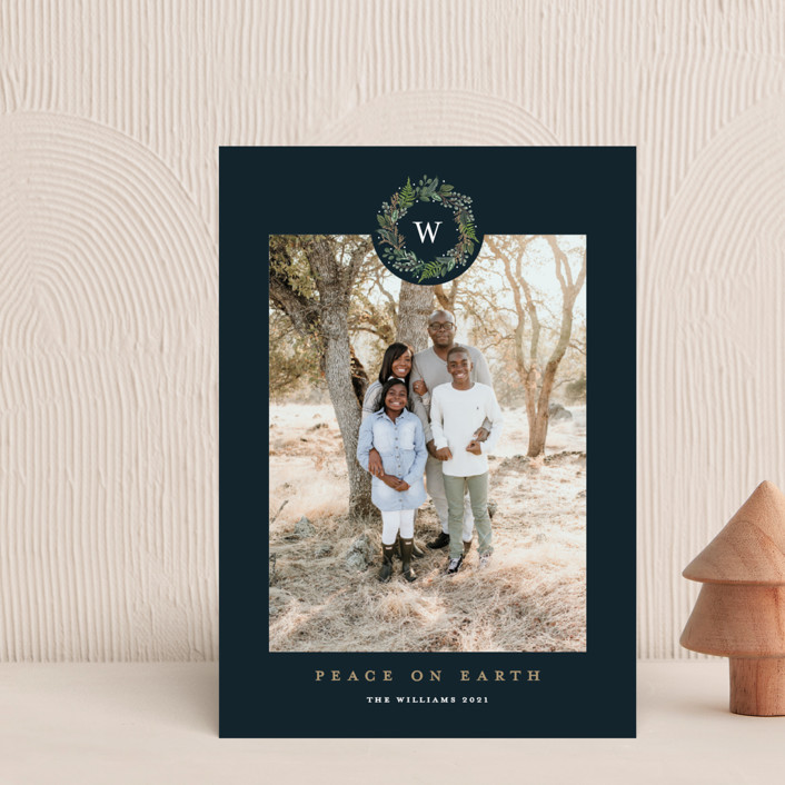 """Peace on Earth"" - Holiday Postcards in Navy by Susan Moyal."