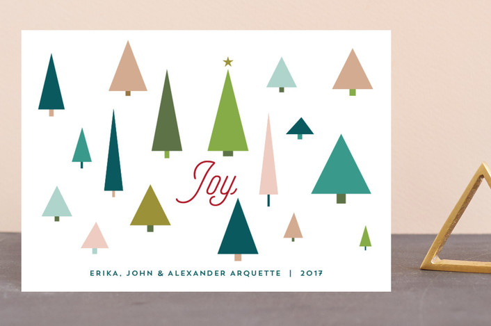 """Joy Tree Forest"" - Modern Holiday Postcards in Holly by Erika Firm."