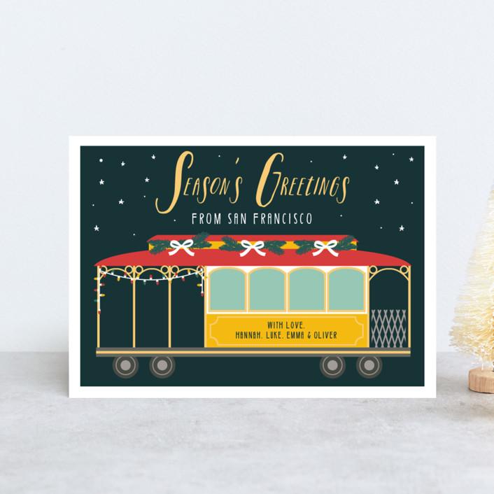 """""""San Fran Tram"""" - Holiday Postcards in Fir by Hudson Meet Rose."""