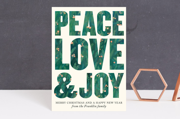 """""""Peace, Love and Joy"""" - Modern Holiday Postcards in Forest Green by Alexandra Dzh."""