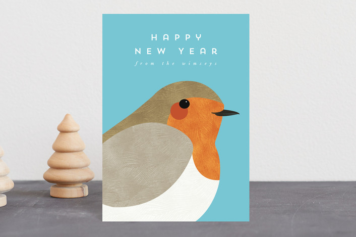 """""""Winter Robin"""" - Holiday Postcards in Teal by Catherine Culvenor."""
