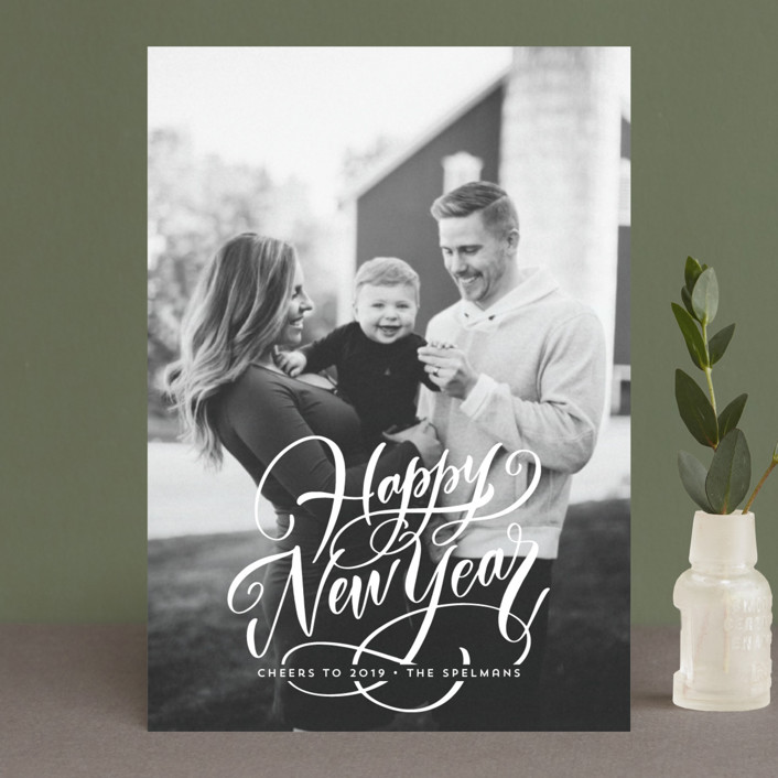 """Scripted Year"" - Holiday Postcards in Snow by Laura Bolter Design."