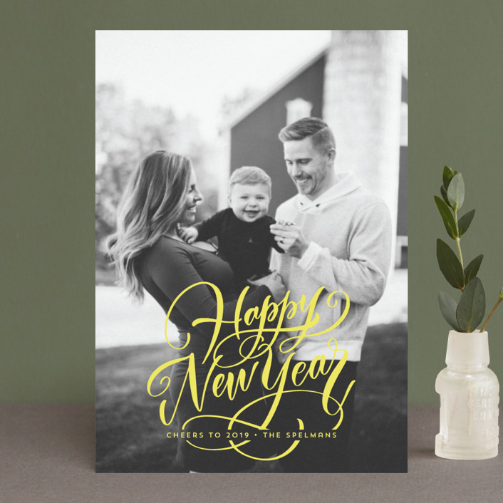 """Scripted Year"" - Holiday Postcards in Citrus by Laura Bolter Design."