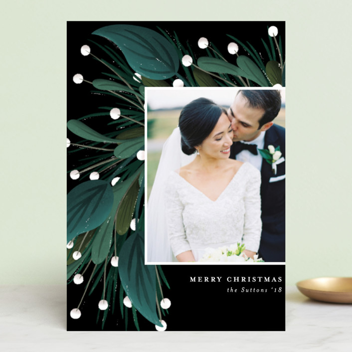 """Garland Greeting"" - Holiday Postcards in Onyx by Angela Marzuki."