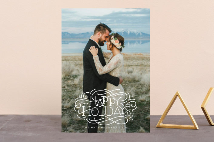 """""""Flourished Holidays"""" - Holiday Postcards in Snow by Laura Bolter Design."""