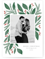 This is a green christmas postcard by Lehan Veenker called Cheerful Greens with standard printing on signature in postcard.