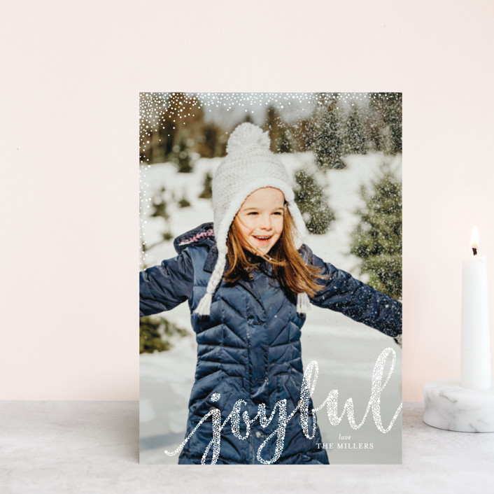 """Joyful Greeting"" - Holiday Postcards in Snow by Erin Deegan."