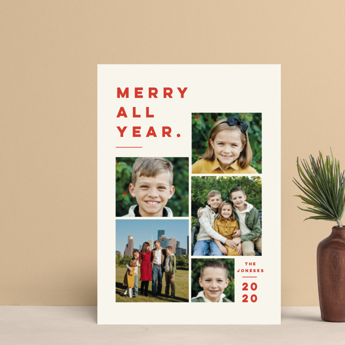 """""""Merry All Year."""" - Holiday Postcards in Ivory by Pink House Press."""