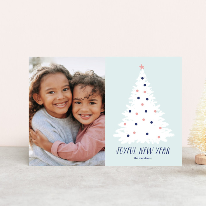"""Frosted Joy"" - Modern Holiday Postcards in Frost by Alex Elko Design."