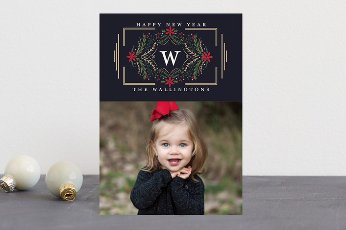 """Botanical Monogram"" - Holiday Postcards in Navy by Susan Moyal."