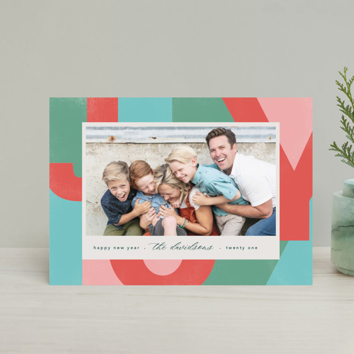 """""""A Block of Joy"""" - Modern Holiday Postcards in Candy Apple by Erin Niehenke."""