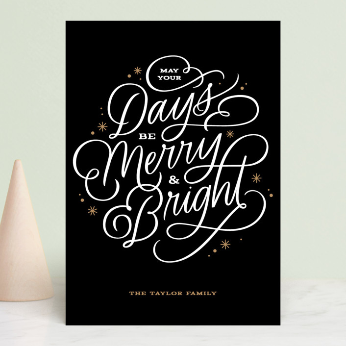 """Scripted Merry"" - Holiday Postcards in Tuxedo by Kristen Smith."