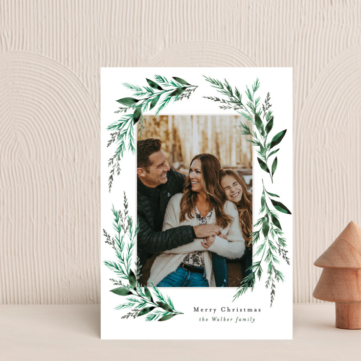 """""""Painted Greenery Swag"""" - Holiday Postcards in Snow by Alethea and Ruth."""