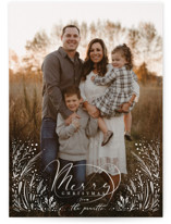 This is a white christmas postcard by Hannah Williams called Merry Overlay with standard printing on signature in postcard.