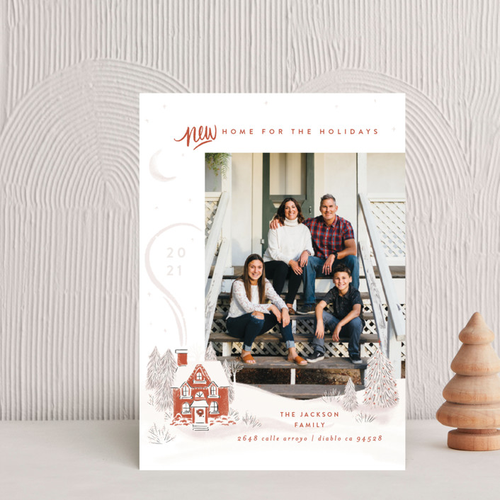 """""""Vintage Cozy Home"""" - Bohemian Holiday Postcards in Pumpkin by Shiny Penny Studio."""