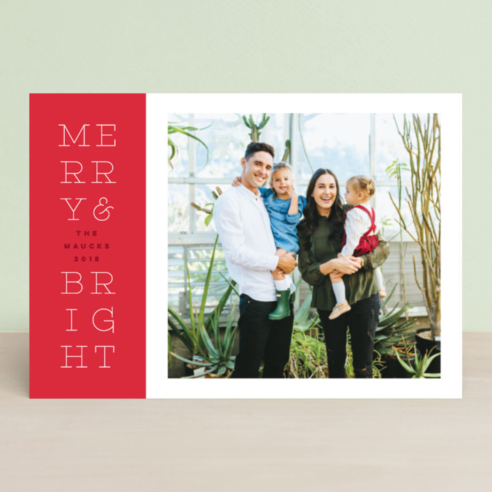 """bright stack"" - Holiday Postcards in Cherry Bomb by Design Lotus."
