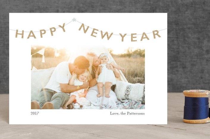 """Party Banner"" - Bohemian Holiday Postcards in Platinum by Julee London."