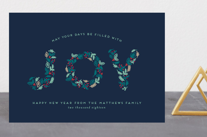 """Joyful Greetings"" - Holiday Postcards in Navy by Shirley Lin Schneider."