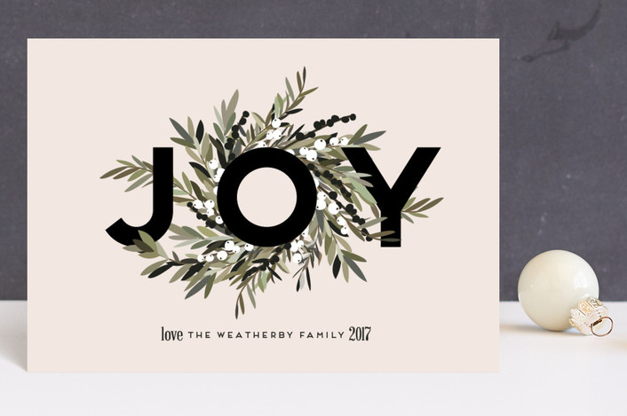 """""""Joyous Wreath"""" - Holiday Postcards in Blush by Leah Bisch."""