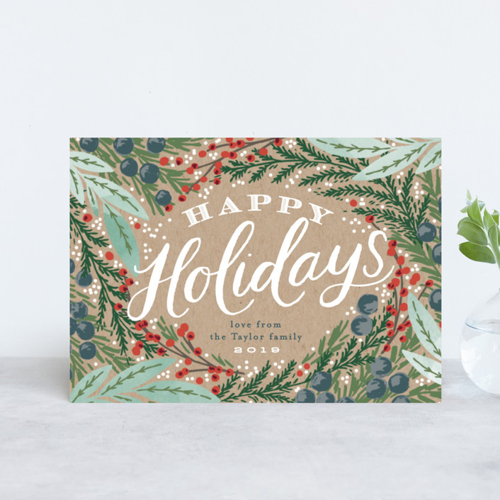 """""""Holiday Wreath"""" - Vintage Holiday Postcards in Kraft by Alethea and Ruth."""