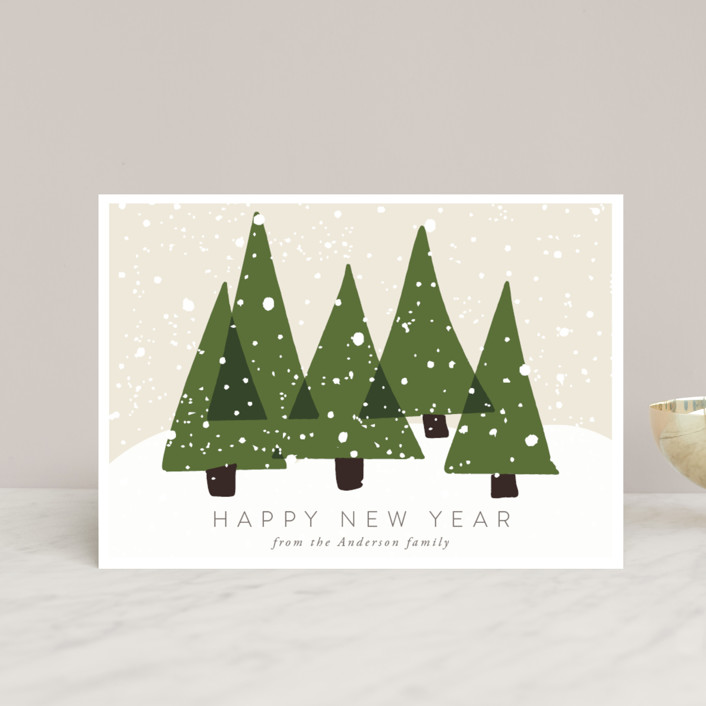 """Christmas Trees"" - Holiday Postcards in Olive by Roopali."