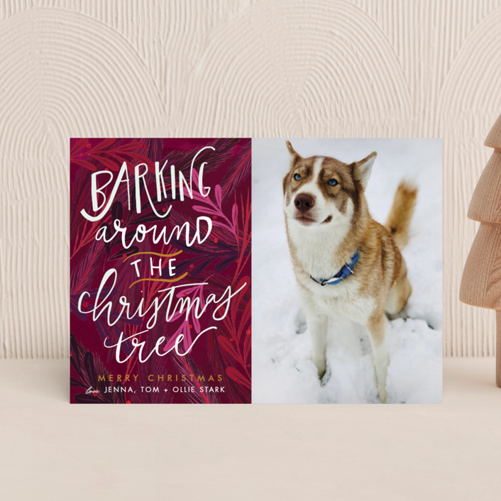 """""""Barking Fun"""" - Holiday Postcards in Evergreen by Stephanie Given."""