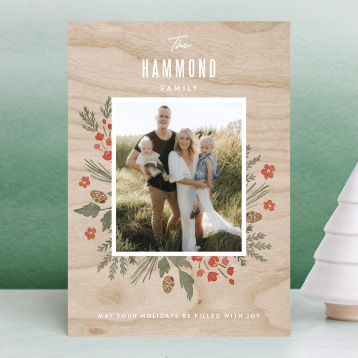 """""""Wooden Frame"""" - Holiday Postcards in Festive Red by Oscar & Emma."""