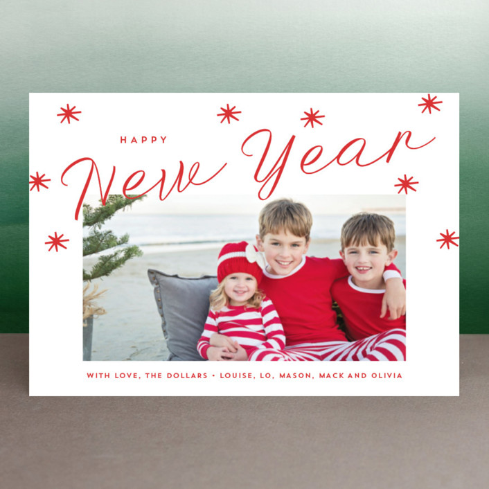 """""""Happy Holidays Stars"""" - Holiday Postcards in Cardinal by Erika Firm."""
