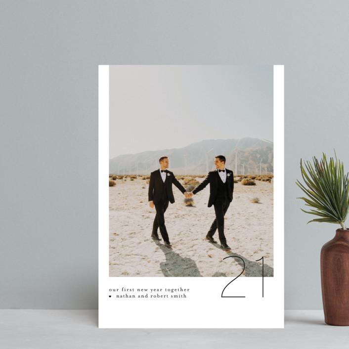 """Modern Minimal"" - Holiday Postcards in Coal by Mansi Verma."
