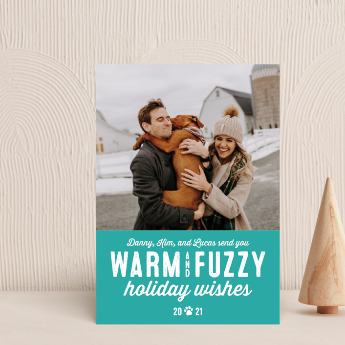 """Warm Fuzzies"" - Holiday Postcards in Lagoon by Lea Delaveris."