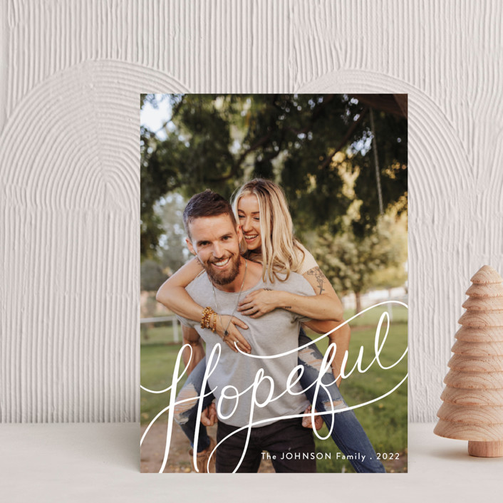 """""""Hopeful Hand-Lettering"""" - Holiday Postcards in Snow by Becky Nimoy."""