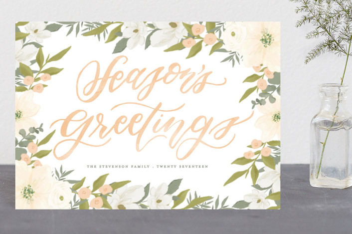 """Season in Bloom"" - Holiday Postcards in Chartruese by Grace Kreinbrink."