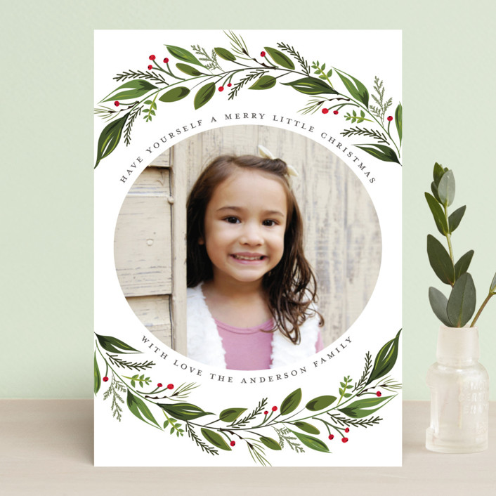 """""""Greenery Branch"""" - Holiday Postcards in Crimson by Susan Moyal."""