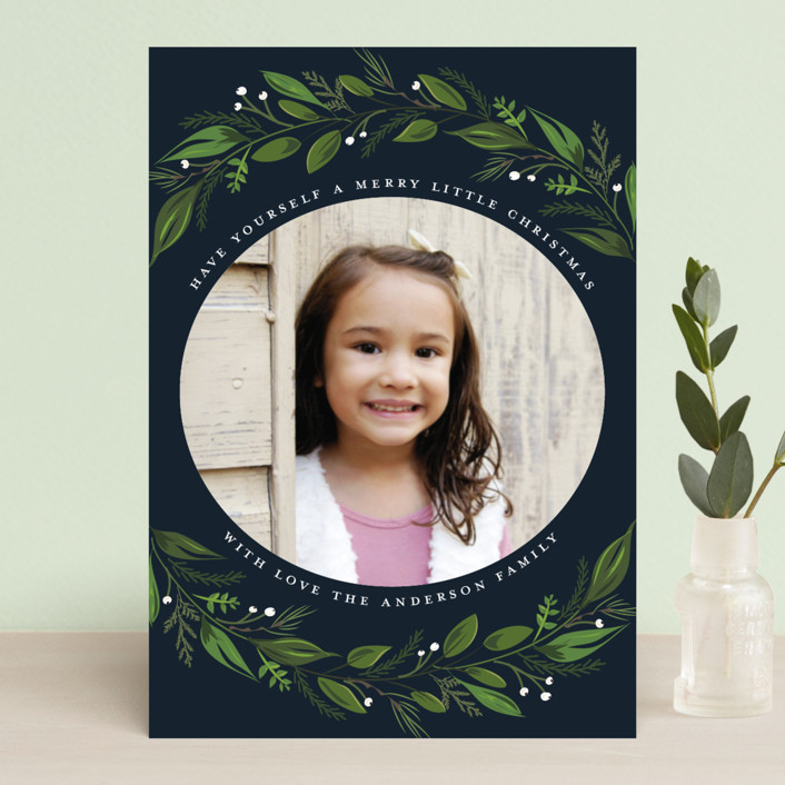 """""""Greenery Branch"""" - Holiday Postcards in Navy by Susan Moyal."""