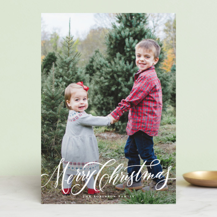 """Elegant Script Merry Christmas"" - Holiday Postcards in Winter by Wildfield Paper Co.."