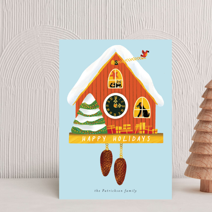 """""""Holiday cuckoo clock"""" - Vintage Holiday Postcards in Cream by Alexandra Dzh."""