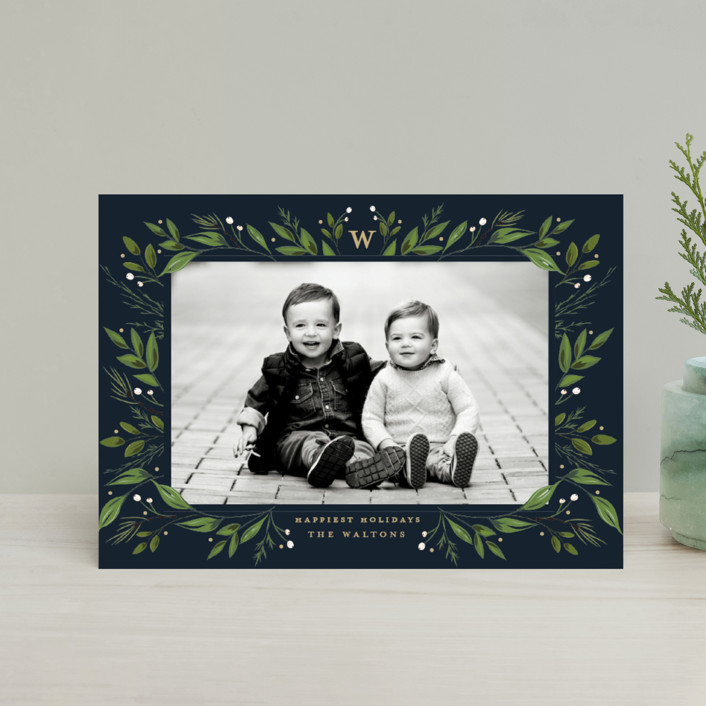"""""""Holiday Framed"""" - Holiday Postcards in Navy by Susan Moyal."""