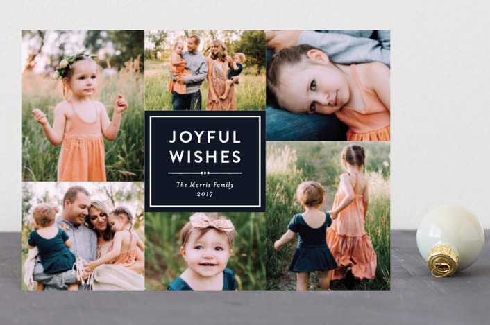 """Joyful Wishes Collage"" - Holiday Postcards in Navy by Katherine Moynagh."