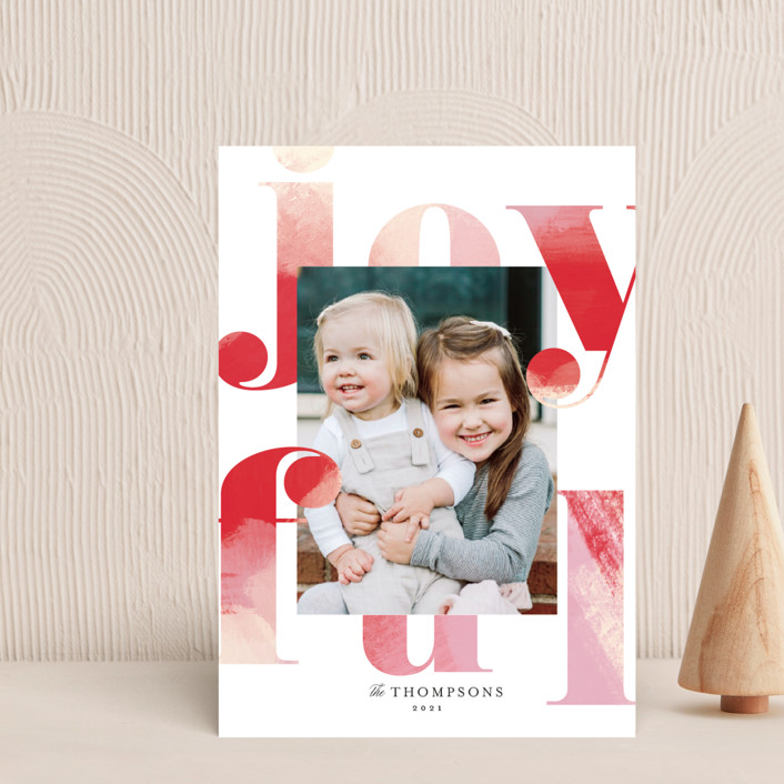 """""""Joyful Painting"""" - Holiday Postcards in Cranberry by Kimberly FitzSimons."""